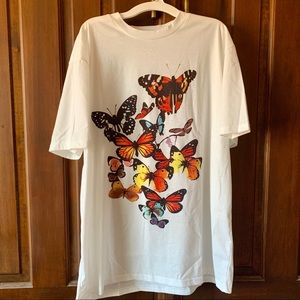 White Butterfly Print Oversized Tee